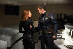 Scarlett Johansson and Chris Evans in Captain America: The Winter Soldier.