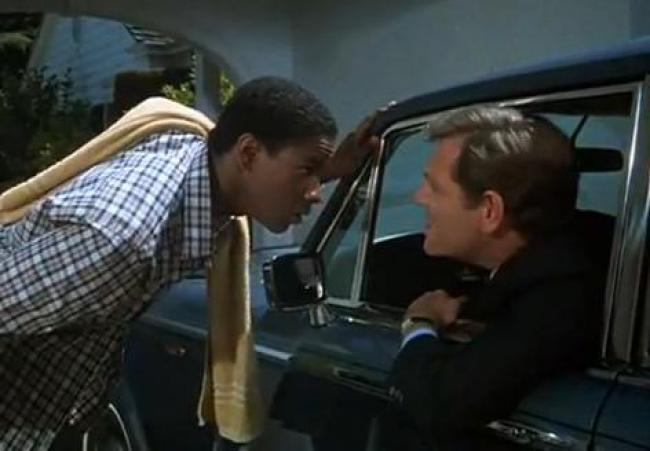 Denzel Washington and George Segal in Carbon Copy.