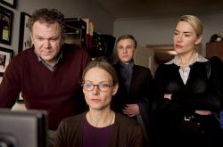 John C. Reilly, Jodie Foster, Christoph Waltz and Kate Winslet in Carnage.
