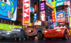 Finn McMissle, Mater and Lightning McQueen in Cars 2