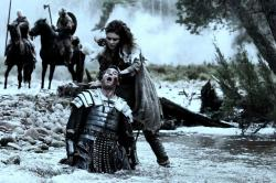 Olga Kurylenko as Etain showing why you don't want to mess with her in Centurion.