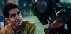 Dev Patel and Chappie in Chappie.