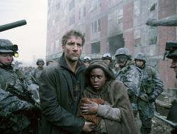Clive Owen and Claire-Hope Ashitey in Children of Men.