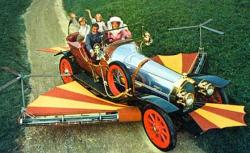 Dick Van Dyke drives Chitty Chitty Bang Bang.