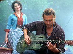 Juliette Binoche and Johnny Depp in Chocolat.