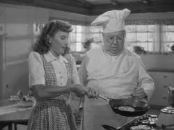 Barbara Stanwyck and S.Z. Sakall in Christmas in Connecticut.
