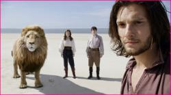 Aslan, Lucy, Edmund and Prince Caspian in Voyage of the Dawn Treader.