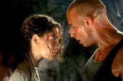Alexa Davalos and Vin Diesel in The Chronicles of Riddick.