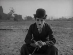 A pensive Charlie Chaplin.