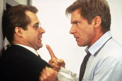 Henry Czerny and Harrison Ford representing two opposing views of the American government in Clear and Present Danger