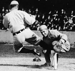 The real Ty Cobb showing what an aggressive player he was.
