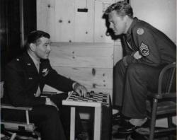 Clark Gable and Van Johnson on the set of Command Decision.