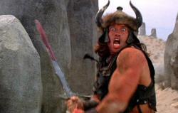 Arnold Schwarzenegger in Conan: the Barbarian.