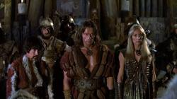 Gerry Lopez, Arnold Schwarzenegger and Sandahl Bergman in Conan the Barbarian.