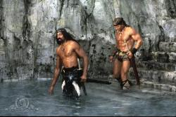 Wilt Chamberlain and Arnold Schwarzenegger in Conan the Destroyer.