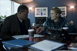Laurence Fishburne and Kate Winslet in Contagion.