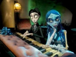 Johnny Depp and Helena Bonham Carter provide voices in The Corpse Bride.