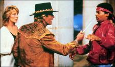 Mick Dundee shows what a real knife looks like in Crocodile Dundee.