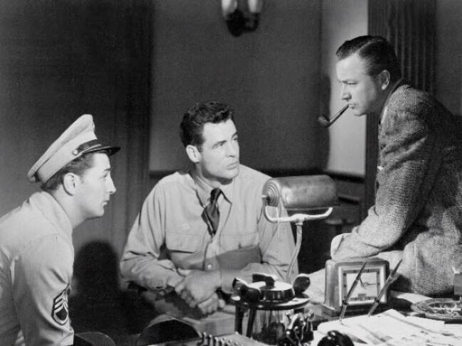 Robert Mitchum, Robert Ryan and Robert Young in Crossfire.
