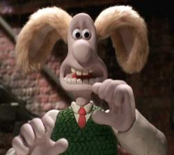 Wallace in Wallace and Gromit: The Curse of the Were-Rabbit.