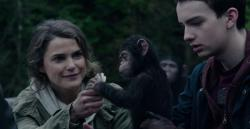 Keri Russell and Kodi Smit-McPhee in Dawn of the Planet of the Apes