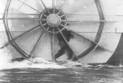 Buster Keaton making like a hamster on a wheel.