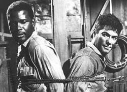 Sidney Poitier and Tony Curtis in The Defiant Ones.