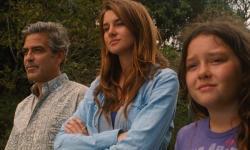 George Clooney, Shailene Woodley and Amara Miller in The Descendants.