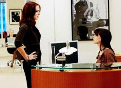 Emily Blunt and Anne Hathaway in The Devil Wears Prada.