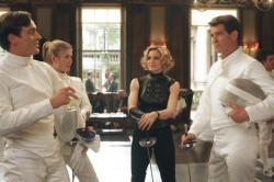Toby Stephens, Rosamund Pike, Madonna and Pierce Brosnan in Die Another Day.