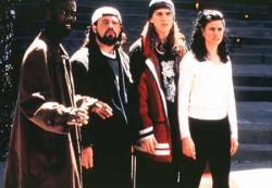 Chris Rock, Kevin Smith, Jason Mewes and Linda Fiorentino in Dogma.