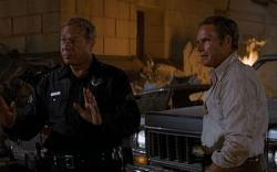 George Kennedy and Charlton Heston in Earthquake.