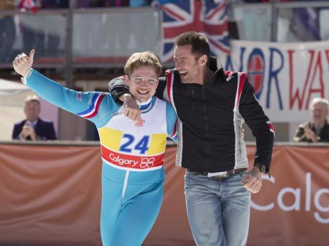 Taron Egerton and Hugh Jackman in Eddie the Eagle.