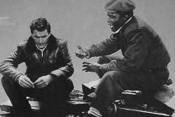 John Cassavetes and Sidney Poitier in Edge of the City.