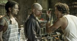 Diego Luna, Matt Damon, and Wagner Moura in Elysium.