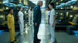 Harrison Ford and Asa Butterfield in Ender's Game.