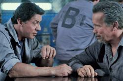 Sylvester Stallone and Arnold Schwarzenegger in Escape Plan.