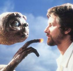 Steven Spielberg and his alien creation in E.T.: The Extra-Terrestrial.
