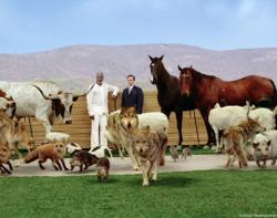 Morgan Freeman as God and Steve Carell as Evan surrounded by animals in Evan Almighty.