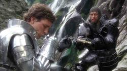 Lancelot kissing the tip of Arthur's sword. Hmmmm?