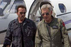 Arnold Schwarzenegger and Harrison Ford in The Expendables 3.
