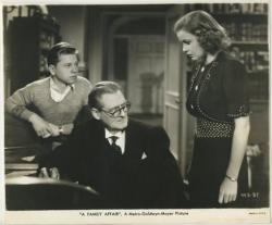 Mickey Rooney, Lionel Barrymore, and Cecilia Parker in A Family Affair.