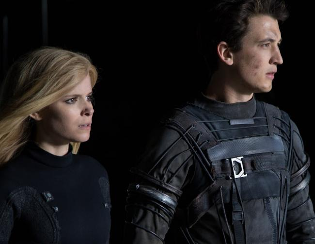 Kate Mara and Miles Teller in The Fantastic Four.