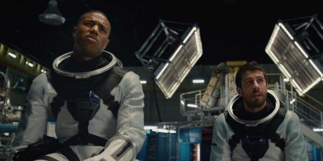Michael B. Jordan and Toby Kebbell in Fantastic Four.