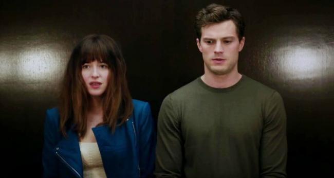 Dakota Johnson and Jamie Dornan in Fifty Shades of Grey.