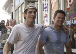 Christian Bale and Mark Wahlberg as real life brothers Dicky Eklund and Mickey Ward.