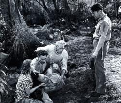 Lucille Ball, Allen Jenkins (lying on ground), Joseph Calleia, C. Aubrey Smith and Chester Morris in Five Came Back.
