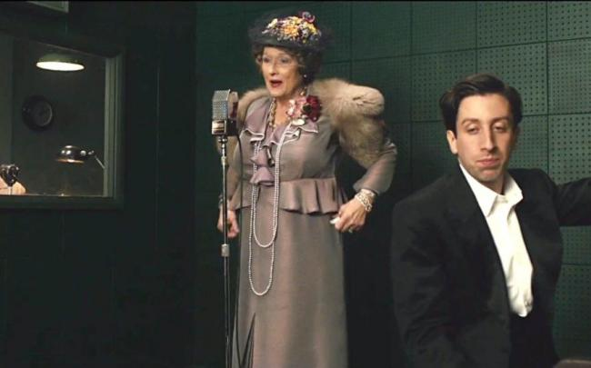 Meryl Streep and Simon Helberg in Florence Foster Jenkins.