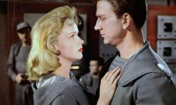 Anne Francis and Leslie Nielsen in Forbidden Planet.