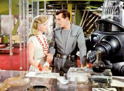 Anne Francis, Jack Kelly and Robbie in Forbidden Planet
